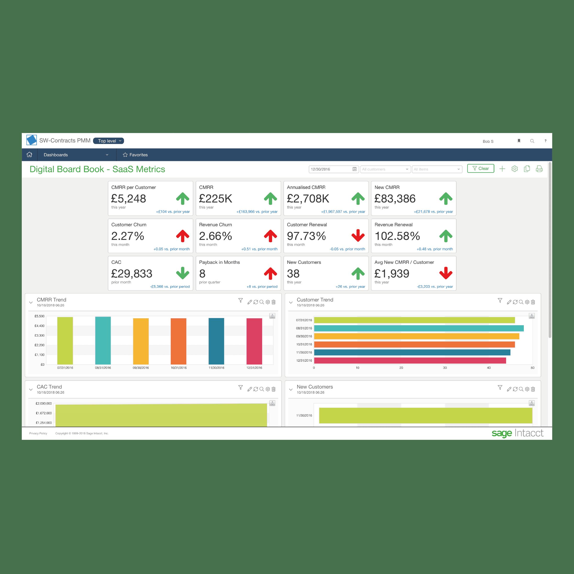 Sage Intacct for SaaS product screenshot