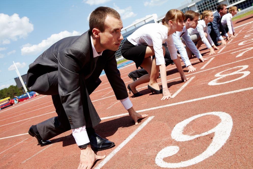 business people in race