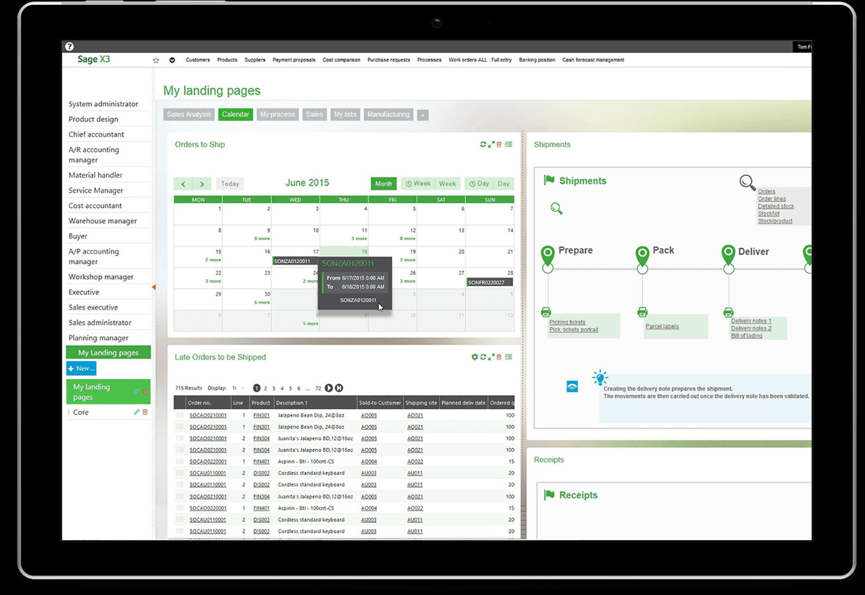 Sage x3 product screenshot inventory management