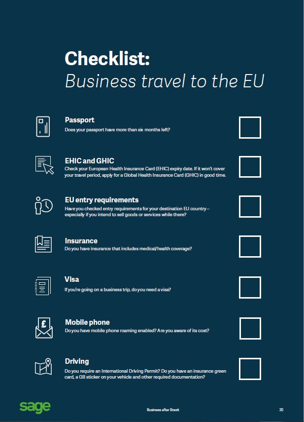 business travel check list - brexit